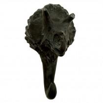 1 Pc Simulated Dinosaur Skeleton Hook Simulation Fossils Resin Triceratops Wall Hanger, Matte Black