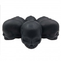 3D Skull Silicone Ice Cube Mold Tray Party Reusable Round Ice Cube Maker Flexible Ice Ball Maker, 6 Skull Faces Black