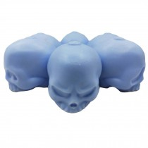 Funny 3D Skull Silicone Ice Cube Mold Tray Party Round Ice Pop Maker Kids Fruit Juice Ice Ball, 6 Skull Faces Blue