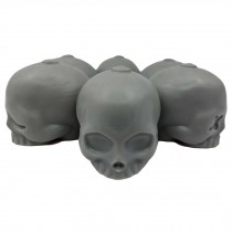 3D Skull Silicone Ice Cube Mold Tray Party Reusable Round Ice Cube Maker Cocktail Ice Ball Barware, 6 Skull Faces Grey