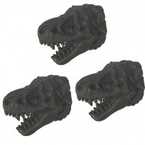 3 Pcs Simulation Dinosaur Drawer Knobs Resin Decorative Tyrannosaurus Closet Handle Pulls, Matte Black