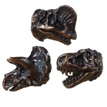 3 Pcs Resin Simulation Dinosaur Drawer Knobs Kids Room Closet Handle Pulls, Bronze
