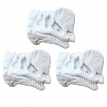 3 Pcs Simulation Dilophosaurus Dresser Handle Resin Dinosaur Knobs for Kitchen Drawer Closet Cupboard, White