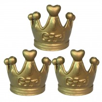 Gold Crown Drawer Knobs Retro Girls Room Wardrobe Pulls Decor, 3 Pcs