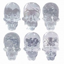 Cabinet Knobs Pack Simulated Skull Clear Resin Decorative Drawer Knobs for Kids, Pack of 6