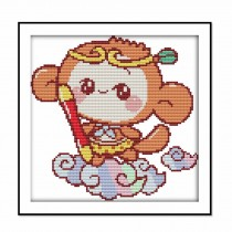 Sun Wukong DIY Cross Stitch Stamped Kits Monkey Pre-Printed Embroidery Kits for Beginners, 9x9 inch