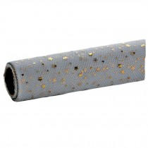 Grey Flower Wrapping Paper Mesh Gauze Gift Wrapping Paper Roll, Gold Stars