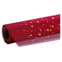 Gold Star Moon Mesh Yarn Korean Wrapping Paper Flower Bouquet Packaging Supplies, Red