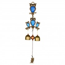 Chinese Style Wind Chime Owl Doorbell Wall Mount Door Entrance Shopkeeper Metal Bells, Blue