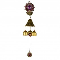 Rustic Metal Wind Chime Chinese Style Doorbell Wall Mount Store Wind Chime, Purple