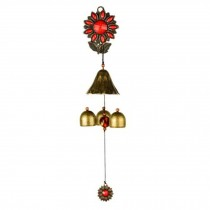Rustic Metal Wind Chime Chinese Style Sunflower Store Wind Chime Indoor Outdoor, Red