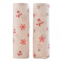 2 Rolls Disposable Kitchen Paper Towels Christmas Kitchen Paper Tissue, Snowman