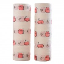2 Rolls Disposable Kitchen Paper Towels Cute Cleaning Cloth Kitchen Tissue Rolls, Pig