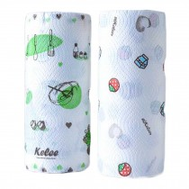 2 Rolls Random Pattern Disposable Kitchen Paper Towels Printed Kitchen Tissue Paper Rolls