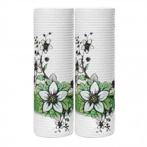 2 Rolls Flower Kitchen Paper Towels Disposable Dish Cleaning Cloth Kitchen Tissue Paper