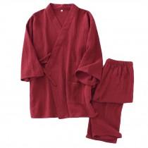 Summer Cotton Gauze Pajama Set Japanese Style Men's Pajamas Suit Bathrobe, Red