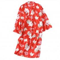 Women's Kimono Robe Pig Pattern Cotton Nightwear Yukata Pajama, Red