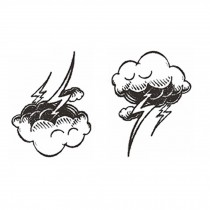 3 Sheets Black Temporary Tattoos Cloud and Lightning Body Art Stickers Small Tattoos Designs Tattoo Sticker