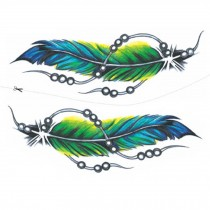 2 Sheets Green Feather Simulation Tattoos Colorful Abdomen Makeup Temporary Tattoos Art Stickers Tattoo Sticker