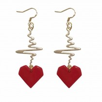 Heartbeat Dangle Earring Heart Drop Hook Earrings Long Pendant Dangle Jewelry for Woman,Red