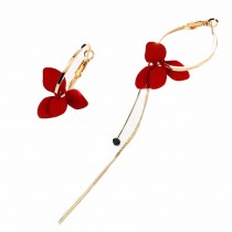 Camellia Flowers Long Chain Earring Asymmetric Circle Long Tassel Dangle Earrings for Women