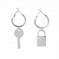 Asymmetric Big Circle Round Hook Dangle Earrings Metal Key Lock Dangle Earrings,3 Pairs