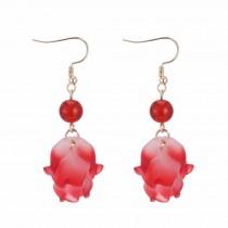 Acrylic Dangle Earrings Tassel Blooming Flower Drop Earrings Fabric Cloth Dangle Earrings,2 Pairs
