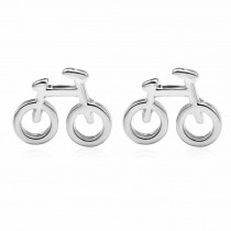 Silver Color Tiny Earrings Fan Gift Bicycle Shape Stud Earrings for Women,3 Pairs