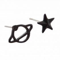 Tiny Stud Earrings Star Planet Black Stud Earrings for Women, 10 Pairs