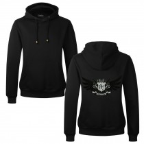Men's Embroidery Road Killer Pullover Hooded Sweatshirt for Spring Autumn, Black