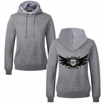 Men's Embroidery Road Killer Pullover Hooded Sweatshirt for Spring Autumn, Gray