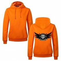 Men's Embroidery Road Killer Pullover Hooded Sweatshirt for Spring Autumn, Orange