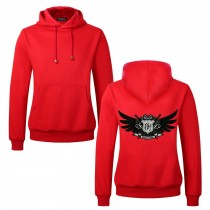 Men's Embroidery Road Killer Pullover Hooded Sweatshirt for Spring Autumn, Red