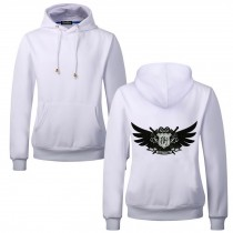 Men's Embroidery Road Killer Pullover Hooded Sweatshirt for Spring Autumn, White