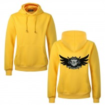 Men's Embroidery Road Killer Pullover Hooded Sweatshirt for Spring Autumn, Yellow