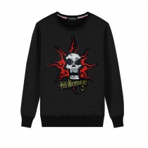 Men's Embroidery Skull Hell Messager Pullover Crewneck Sweatshirt for Spring Autumn, Black