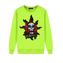 Men's Embroidery Skull Hell Messager Pullover Crewneck Sweatshirt for Spring Autumn, Green