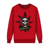 Men's Embroidery Skull Hell Messager Pullover Crewneck Sweatshirt for Spring Autumn, Red