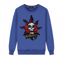 Men's Embroidery Skull Hell Messager Pullover Crewneck Sweatshirt for Spring Autumn, Blue