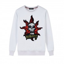 Men's Embroidery Skull Hell Messager Pullover Crewneck Sweatshirt for Spring Autumn, White
