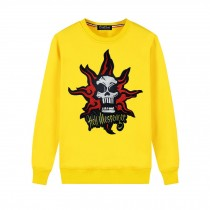 Men's Embroidery Skull Hell Messager Pullover Crewneck Sweatshirt for Spring Autumn, Yellow