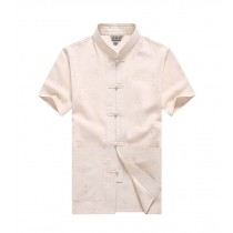 [#2] Mens Standing Collar Cotton and Linen Chinese Short Sleeve KungFu Cloth Men Shirt, Beige