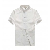 [#2] Mens Standing Collar Cotton and Linen Chinese Short Sleeve KungFu Cloth Men Shirt, White