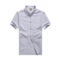 [#2] Mens Standing Collar Cotton and Linen Chinese Short Sleeve KungFu Cloth Men Shirt, Grey