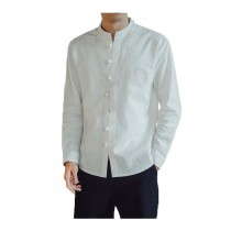 [#3]Mens Standing Collar Cotton and Linen Chinese Long Sleeve KungFu Cloth Men's Shirt Outerware, White