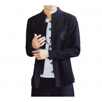 [#3]Mens Standing Collar Cotton and Linen Chinese Long Sleeve KungFu Cloth Men's Shirt Outerware, Black