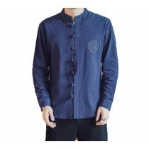 [#3]Mens Standing Collar Cotton and Linen Chinese Long Sleeve KungFu Cloth Men's Shirt Outerware, Navy blue