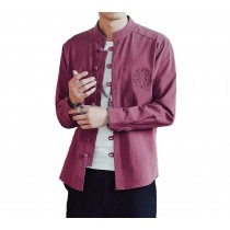 [#3]Mens Standing Collar Cotton and Linen Chinese Long Sleeve KungFu Cloth Men's Shirt Outerware, Wine red