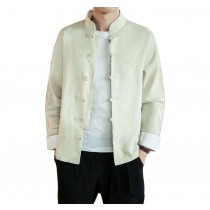 [#4]Mens Standing Collar Cotton and Linen Chinese Long Sleeve KungFu Cloth Men's Shirt Outerware, Beige