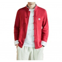 [#4]Mens Standing Collar Cotton and Linen Chinese Long Sleeve KungFu Cloth Men's Shirt Outerware, Red